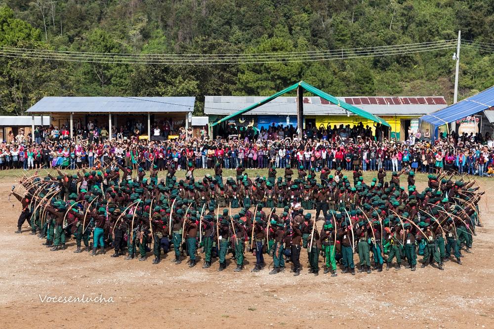 Segundo Encuentro Internacional de Mujeres que Luchan en territorio zapatista, Chiapas. Demostración de mujeres del EZLN. ENLACE A MÉXICO